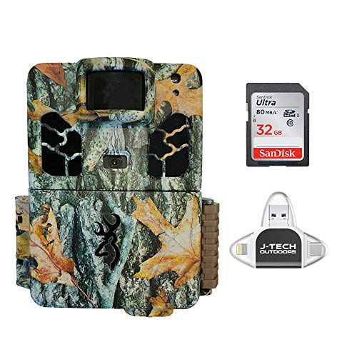 Browning Dark OPS HD APEX (2019) Trail Game Camera Bundle Includes 32GB Memory Card and J-TECH iPhone/iPad/Android USB Memory Card Reader   BTC6HDAPX