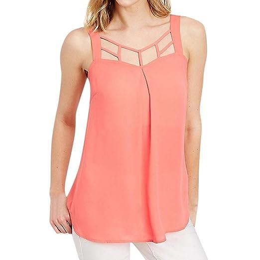 Leegor 2019 Women Summer Solid Caged Neckline Spaghetti Strap Vest Tank Top  Blouse Pink