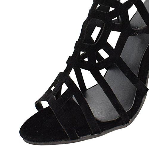 Oasap Mujer Gladiator Sandalias Tacón de Aguja Negro con Hebillas Negro