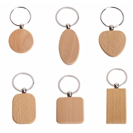 Amazon.com   RAYNAG Set of 6 DIY Blank Wooden Keychain Creative Key Ring  Key Tags Gift   Office Products c1d39461a988