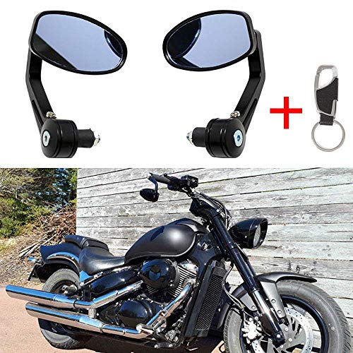 1 Par Espejos laterales universales de la motocicleta Espejo retrovisor de la manilla trasera 7/8 22MM Espejos retrovisores negros giratorios de aluminio