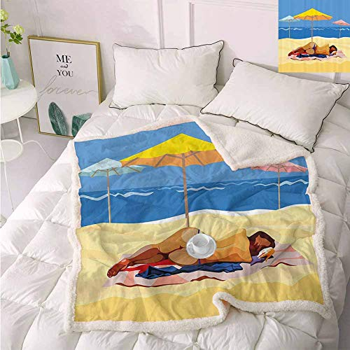 Zara Henry Beach Decor Camping Blanket, Illustration of a Woman in Bikini Lying on The Beach with Umbrellas Light Yellow and Blue Soft Blanket 50x60 Inch