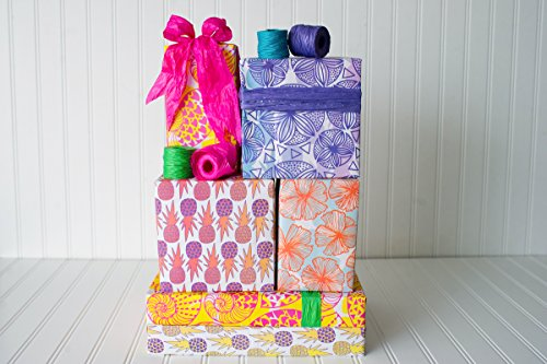 Island Tropical Eco Gift Wrap Set - Reversible Wrapping Paper and Ribbon - Eco-friendly Gift Wrap by (Eco Friendly Ribbon)