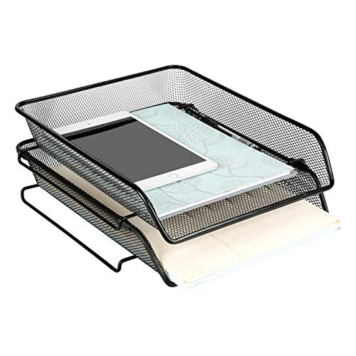 DESIGNA Mesh Collection 2-Tier Desk Tray & Letter Tray, Black (Each Pack Size: 11.3