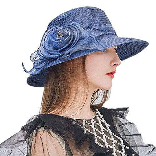 Nercap Womens Fascinator Tea Party Wedding Church Dress Kentucky Derby Hats Wide Brim Summer Cap