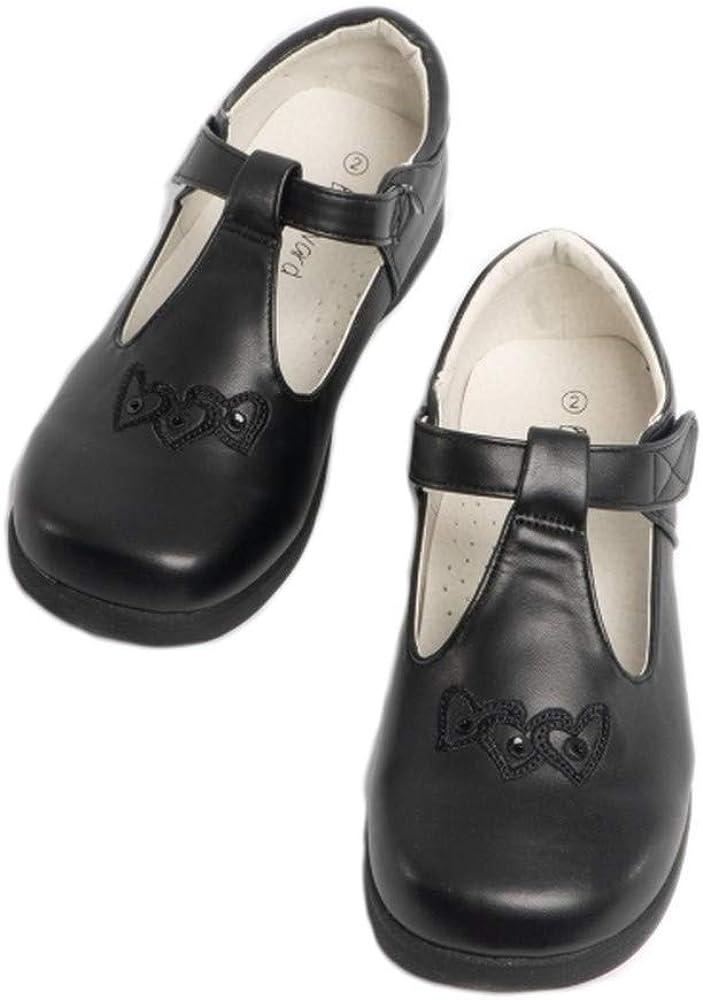Boulevard Girls T-Bar Touch Fasten School Shoes Patent Black