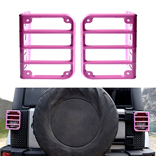 ICARS Hot PINK Taillights Guards Covers For 2007-2017 Jeep Wrangler - Hot Black Pink And Rims