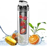 Large 32oz Fruit Infused Water Bottle - Free Fruit Infuser Guide and Tips Included - Exclusive Colors
