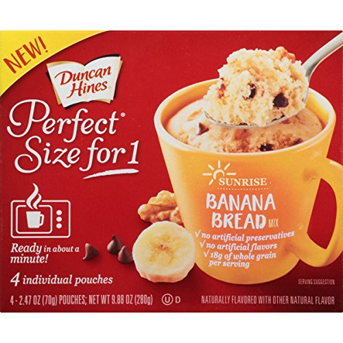- Duncan Hines Perfect Size for 1 Breakfast Muffin and Cake Mix, Banana Bread, 4 individual pouches
