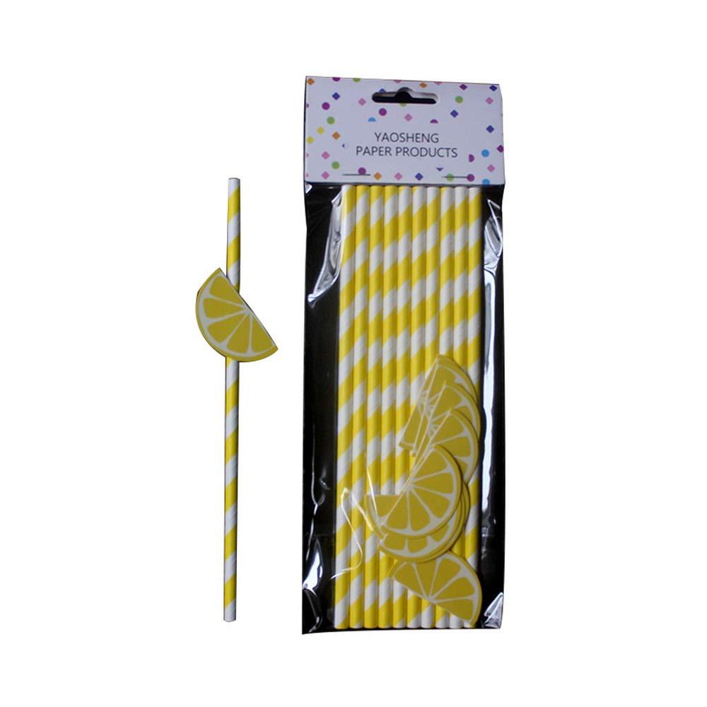 Gadagoda Stripe Disposable cartoon Straw Paper Birthday Party Drink Straw Party Supplies 10pcs