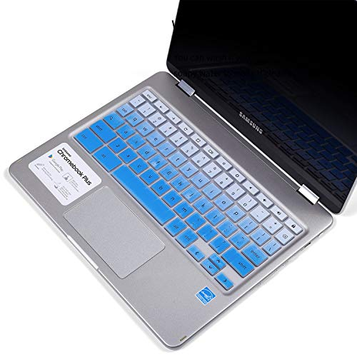 """Keyboard Cover for 2019 2018 Samsung Chromebook 12.3 inch Pro/Plus Model XE510C24 XE510C25 XE513C24, Samsung Chromebook Pro 12.3"""" Protective Skin, Ombre Blue"""