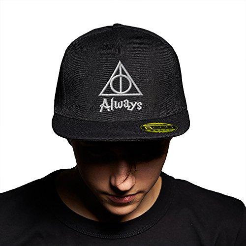 Always Triangle Harry Potter White Black Black Cap Original Gorra Snapback Unisex, Ajustable, con Visera Plana y Logotipo Urbano Bordado.