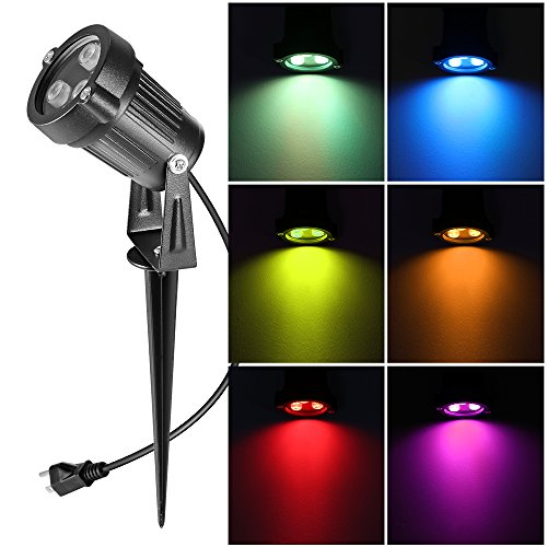 Lawn Flood Light Stake, Ourleeme 2-in-1 Waterproof Outdoor Remote controlle Landscape Lighting Spotlight Wall Light for Yard Garden Driveway Pathway Pool
