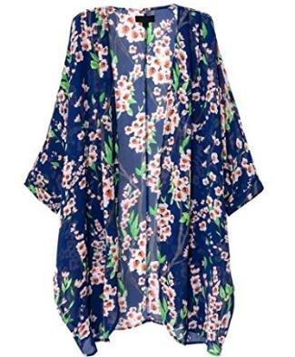 Sierry Women's Bikini Cover up Loose Print Floral Beach wear Chiffon Kimono Cardigan Covers Cape
