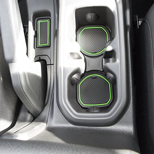 Custom Fit Cup, and Radio Pocket Liner Accessories for JL JLU Jeep Wrangler 2018 2019 13-pc set (FITS SPORTS AND RUBICON WITH CLOTH SEATS ONLY!, Green Trim)