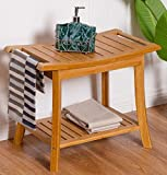 K&A Company Rectangular Bamboo Bathroom Stool with Storage Shelf New Natural 220LBS Caapcity 24'' x 13.4'' x 18''