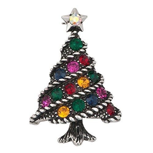 JewelryHouse Vintage Christmas Tree Brooch Crystal Rhinestone Brooches and Pins (Black)