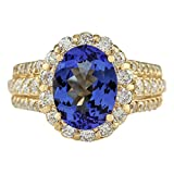 4.6 Carat Natural Blue Tanzanite and Diamond (F-G Color, VS1-VS2 Clarity) 14K Yellow Gold Luxury Engagement Ring for Women Exclusively Handcrafted in USA