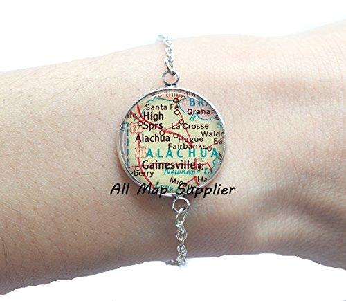 Charming Bracelet,Gainesville, Florida map Bracelets, Gainesville Bracelet, Gainesville map Bracelets, Gainesville - Fl Gainesville Glasses