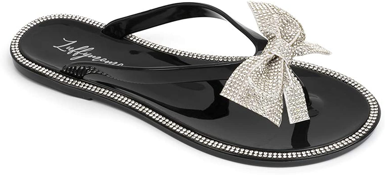 LUFFYMOMO Women's Rhinestone Flip Flops