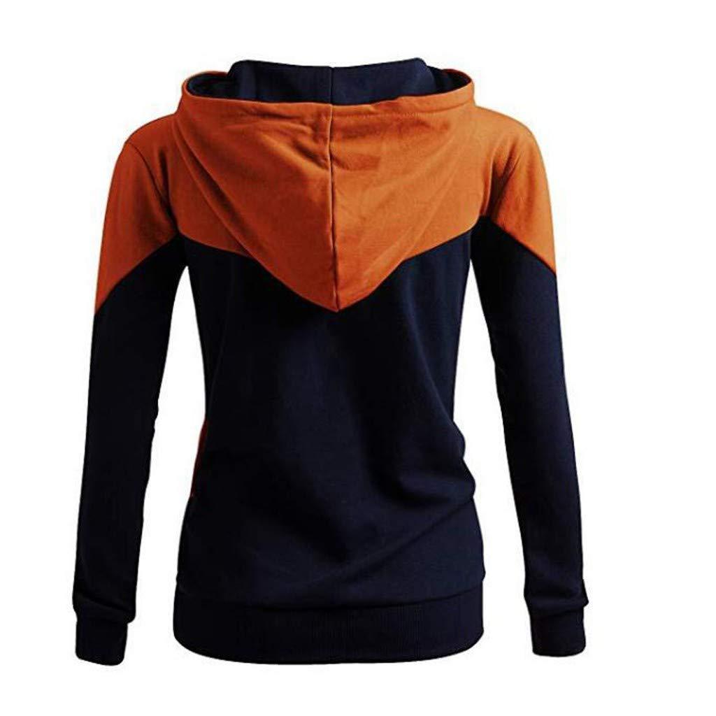 Lelili Women Patchwork Hoodie Fashion Drawstring Hooded Sweatshirt Casual Loose Pullover Tops