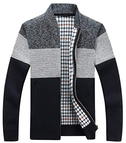 chouyatou Men's Classic Band Collar Full Zip Color-Block Stripe Cable Knitted Cardigan Sweater Coat (X-Large, Black) (Classic Cotton Cable Knit Sweater)