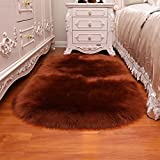HUAHOO Oval Faux Fur Sheepskin Rug Coffee Kids Carpet Soft Faux Sheepskin Chair Cover Home Décor Accent for a Kid's Room,Childrens Bedroom, Nursery, Living Room or Bath. 1.6' x 2.6' Oval