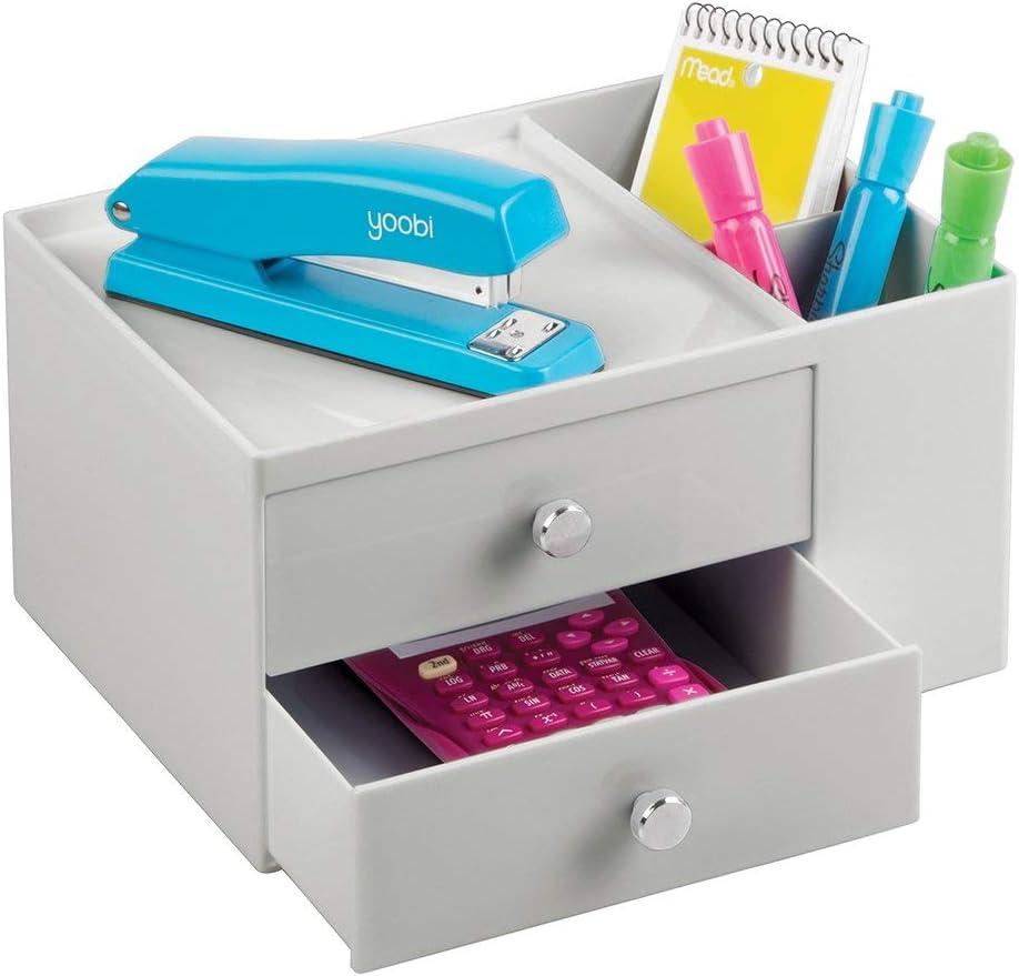 wei/ß und transparent Schreibtisch Organizer mit 5 Ablagem/öglichkeiten aus Kunststoff praktisches Ordnungssystem B/üro f/ür einen aufger/äumten Arbeitsplatz mDesign Schubladenbox