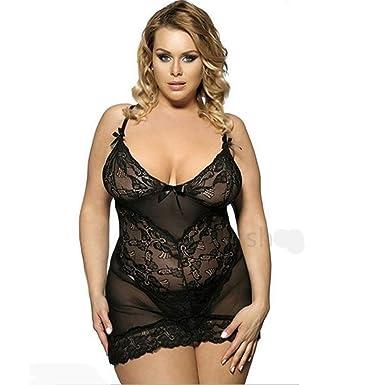 0c6e7a16ca1 Amazon.com  AMSKY Plus Size Sexy Lace Jumpsuit Sleepwear Lingerie  Temptation Bowknot Babydoll Siamese Perspective Underwear  Clothing