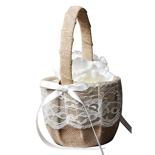 TBNA Bridal Wedding Flower Girl Basket with Bowknot Bridal Ceremony Party Decoration (FGB-3) by TBNA Bridal