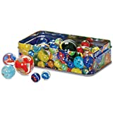 Retro Classic Traditional Set of 60 Glass Marbles in a Tin