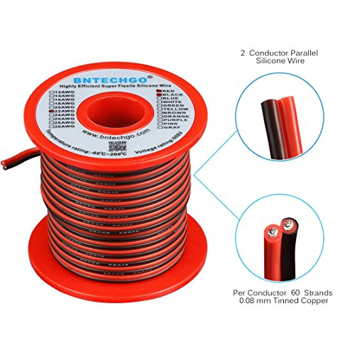 Parallel Bonded Wire (BNTECHGO 22 Gauge Flexible 2 Conductor Parallel Silicone Wire Spool Red Black High Resistant 200 deg C 600V for Single Color LED Strip Extension Cable Cord,model,lead wire 50ft Stranded Copper Wire)