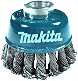 "Makita® 1 Piece - 3 Inch Knotted Wire Cup Brush For Grinders - Heavy-Duty Conditioning For Metal - 3"" x 5/8-Inch 
