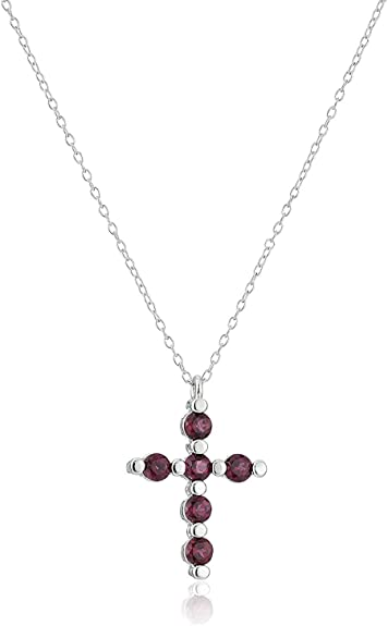 925 Sterling Silver Rhodium-plated Garnet /& CZ January Stone Pendant Necklace 18