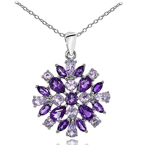 Ice Gems Sterling Silver African Amethyst & Amethyst Cluster Starburst Necklace