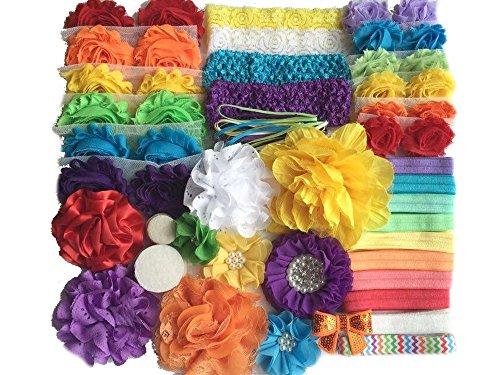 Bowtique Emilee Baby Shower Headband Kit DIY Headband Kit makes 30 Headbands - Rainbow (Crochet Headbands 3 Inch)