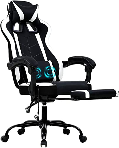 PC Gaming Chair High Back Ergonomic Computer Racing Chair PU Leather Adjustable Rolling Swivel Video Game Chair Executive Office Chair w/Massage Lumbar Support Slide-Out Footrest