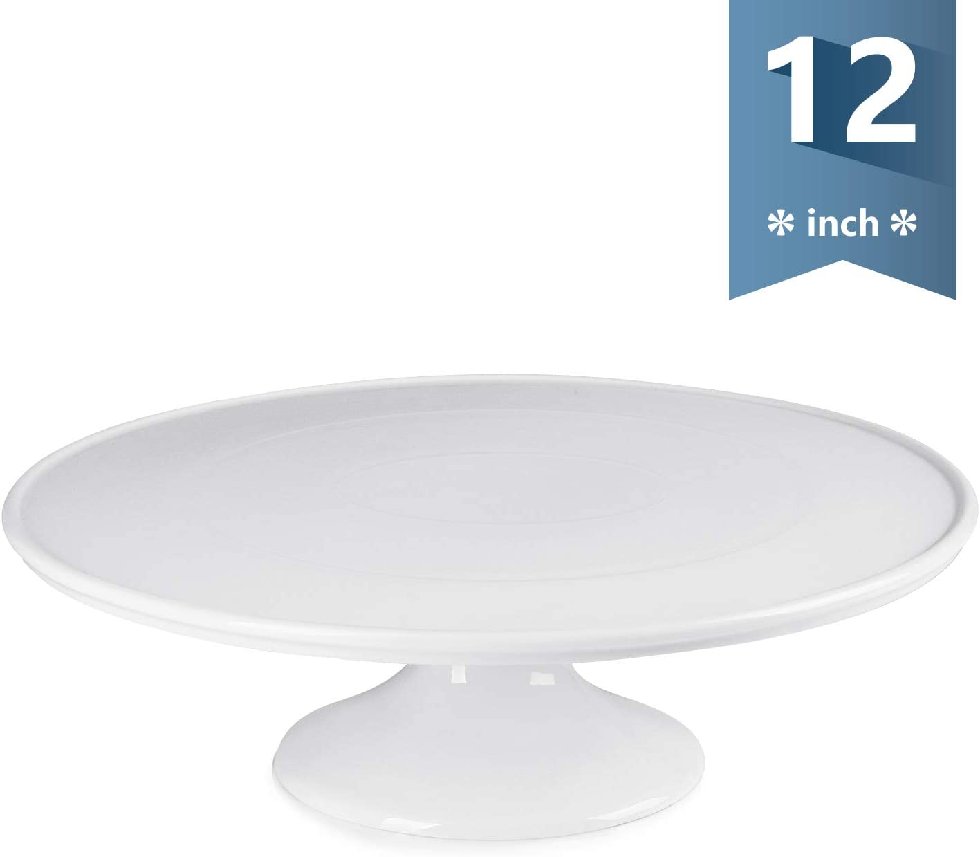 Sweese 709.101 12-Inch Porcelain Cake Stand, Round Dessert Stand, White Cupcake Stand for Parties