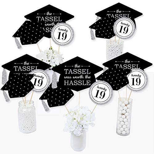 Silver -Tassel Worth The Hassle - 2019 Graduation Party Centerpiece Sticks - Table Toppers - Set of 15 -