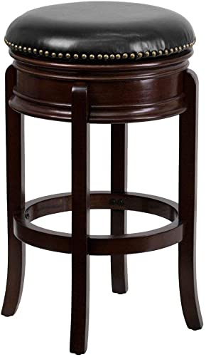 Flash Furniture 29 High Backless Cappuccino Wood Barstool with Carved Apron and Black LeatherSoft Swivel Seat
