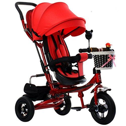 4-en-1 enfants tricycle patte patrouille, vélo pliable tricycle enfants poussent trikes pour bébé 3 roues vélo avec mode anti-UV auvent avec poignée parent rouge ( Couleur : B - type )