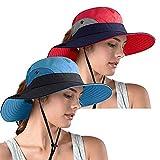 Women's Ponytail Safari Sun Hat, UPF 50+ Wide Brim UV Protection Outdoor Bucket Hat, Foldable Beach Summer Fishing Hat