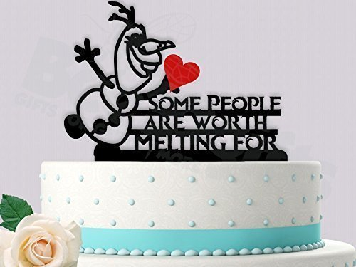 Friendly Snowman (warm hugs) Some People Are Worth Melting For Wedding Cake - Cake Wedding Black People Topper