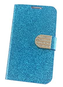 HELPYOU Blue Samsung N7100 Fashion Glitter Powder Rhinestone Shinning Flip Wallet PU Leather Card Slots Stand Case Protective Cover for Samsung Galaxy Note 2 II N7100