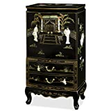China Furniture Online Black Lacquer Jewelry Armoire, Hand Painted Floral Motif and Dancing Maidens Mother Pearl Inlay