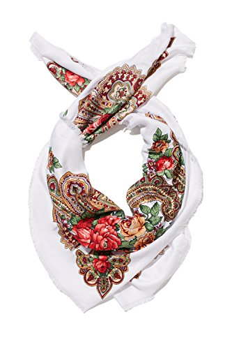 Ladies Floral Neck Scarf Ukrainian Polish Russian Style Silk Folk Shawls For Women (white, flowers)