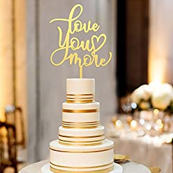 Mr & Mrs Gold Wedding Decoration Cake Topper, Love You More Cake Topper, Unique Gift for Wedding Engagement Anniversary