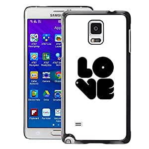 A-type Arte & diseño plástico duro Fundas Cover Cubre Hard Case Cover para Samsung Galaxy Note 4 (Love Bubblegum White Black Text White)