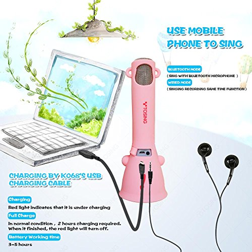TOSING Wireless Karaoke Microphone for Kids, Top Christmas Gifts for Girls 2018, Birthday Present Toys for Girls 4 5 6 7 8 9 Years Old, Gifts for 10 11 12 Yrs Teenage Girls, Bluetooth Karaoke Machine