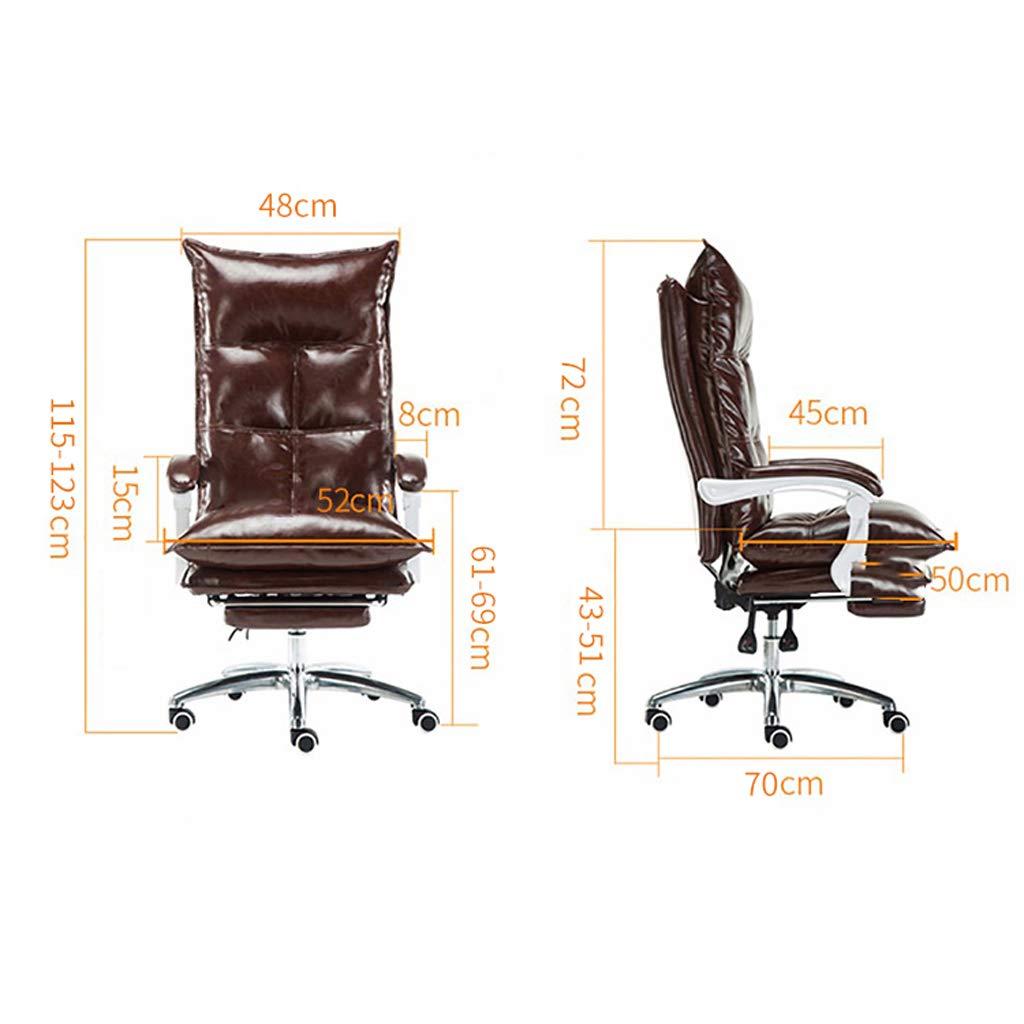 Aoyo läderchef stol vilande kontorsstol, ryggstöd svängbart säte verkställande stol, datorstol spelstol (färg: olja vax läderbrun) Oil Wax Leather-brown